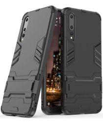 Hybride Huawei P20 Hoesje met Stand Zwart