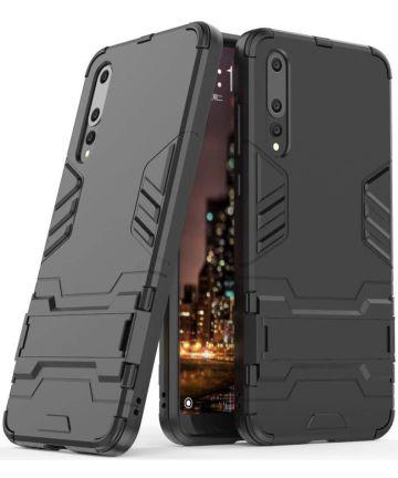 Hybride Huawei P20 Hoesje met Stand Zwart Hoesjes