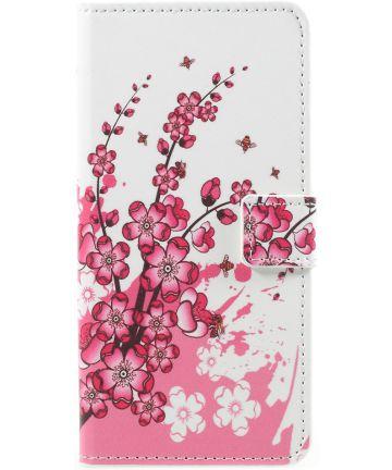 Samsung Galaxy A8 2018 Wallet Case Hoesje met Print bloesems
