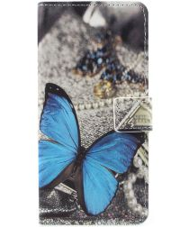Samsung Galaxy A8 2018 Wallet Case Hoesje met print vlinder