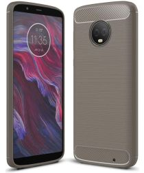 Motorola Moto G6 Plus Geborsteld TPU Hoesje Grijs