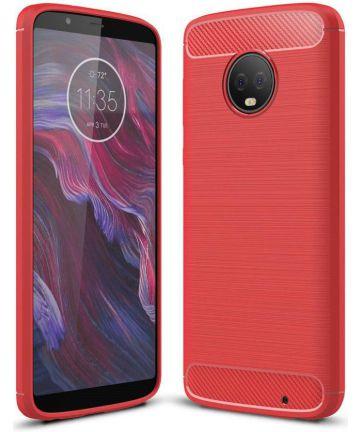 Motorola Moto G6 Plus Geborsteld TPU Hoesje Rood