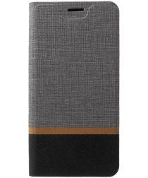 Motorola Moto G6 Play Cross Pattern Wallet Hoesje Hoesje Grijs