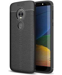 Motorola Moto E5 Hoesje Lederen Coating Zwart