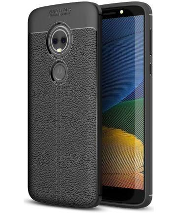 Motorola Moto E5 Hoesje TPU met Lederen Textuur Zwart