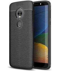 Motorola Moto E5 Plus Hoesje Lederen Coating Zwart