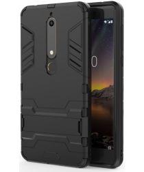 Nokia 6 (2018) Hybride Hoesje met Kickstand Zwart