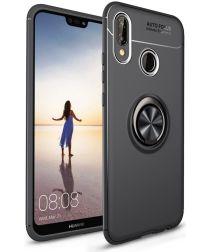 Huawei P20 Lite Backcover Hoesje Houder en Ring Zwart