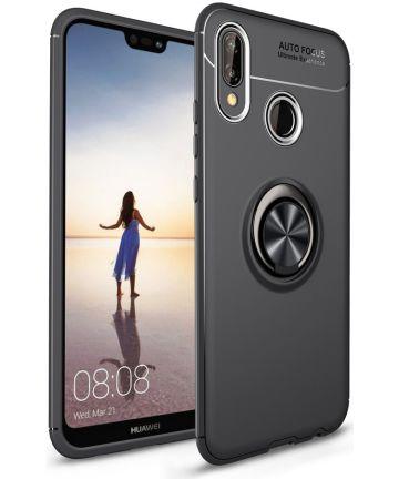 Huawei P20 Lite Backcover Hoesje Houder en Ring Zwart Hoesjes
