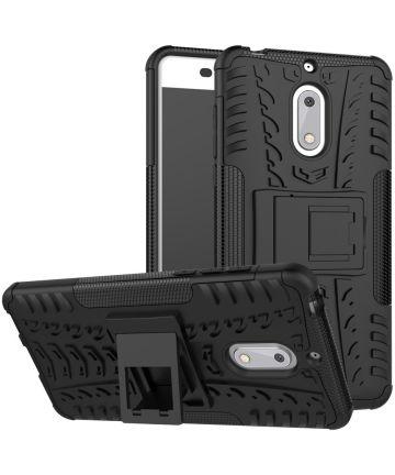 Robuust Hybride Nokia 6 Hoesje Zwart