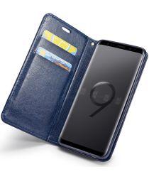 Samsung Galaxy S9 Lederen Portemonnee Hoesje met Lanyard Blauw