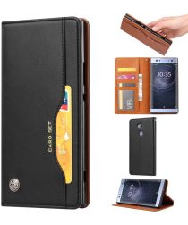 Sony Xperia XA2 Lederen Wallet Stand Hoesje Zwart