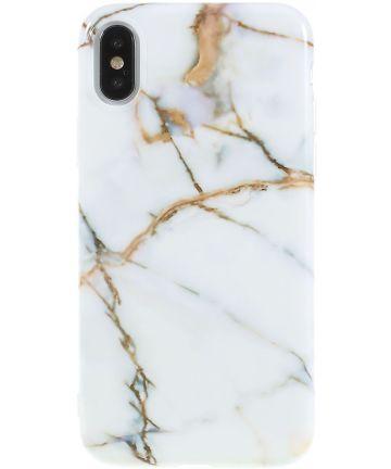 iPhone X Marmer Design TPU Hoesje Goud Hoesjes