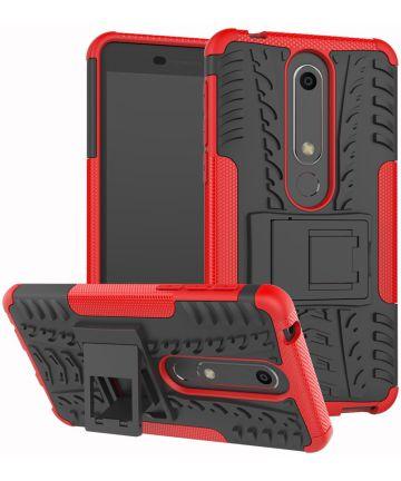 Nokia 6 2018 Hybride Hoesje Rood Hoesjes