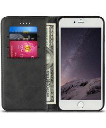 Apple iPhone 8 / 7 Hoesje Premium Book Case Kunst Leer Zwart