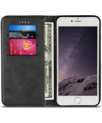 Apple iPhone 8 / 7 Hoesje Premium Book Case Kunst Leer Zwart Hoesjes