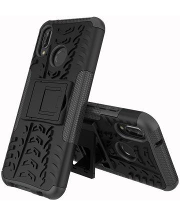 Huawei P20 Lite Robuust Hybride Hoesje Zwart Hoesjes