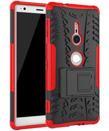 Sony Xperia XZ2 Hybride Hoesje met Kickstand Rood Hoesjes