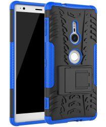 Sony Xperia XZ2 Hybride Hoesje met Kickstand Blauw