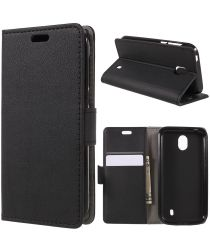 Nokia 1 Lederen Wallet Stand Hoesje Zwart