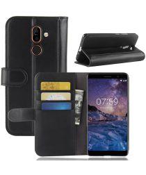 Nokia 7 Plus Echt Lederen Wallet Stand Hoesje Zwart