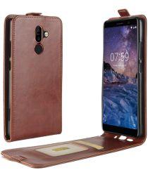 Nokia 7 Plus Verticaal Flip Hoesje Bruin