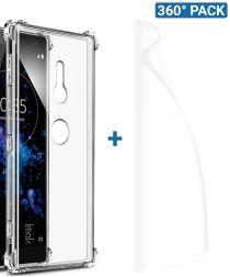IMAK Sony Xperia XZ2 Hoesje TPU met Screenprotector Transparant
