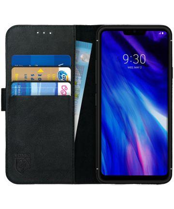 Rosso Deluxe LG G7 Hoesje Echt Leer Book Case Zwart Hoesjes