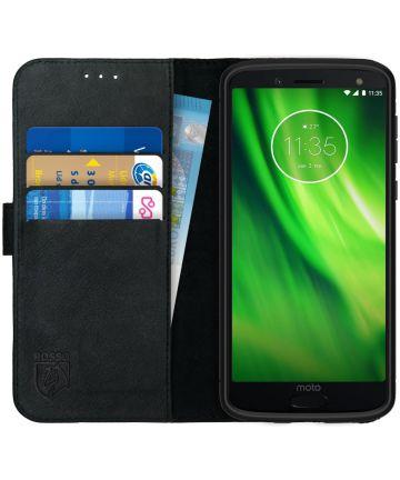 Rosso Deluxe Motorola Moto G6 Hoesje Echt Leer Book Case Zwart