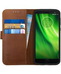 Rosso Deluxe Motorola Moto G6 Hoesje Echt Leer Book Case Bruin