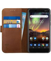Rosso Deluxe Nokia 6 (2018) Hoesje Echt Leer Book Case Bruin