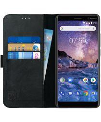 Rosso Deluxe Nokia 7 Plus Hoesje Echt Leer Book Case Zwart