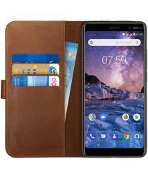Rosso Deluxe Nokia 7 Plus Hoesje Echt Leer Book Case Bruin