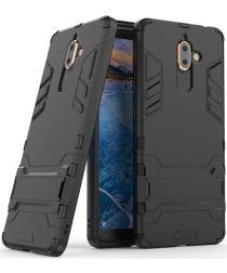 Nokia 7 Plus Hybride Kickstand Cover Zwart