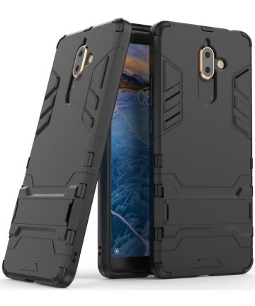 Nokia 7 Plus Hybride Kickstand Cover Zwart Hoesjes