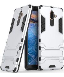 Nokia 7 Plus Hybride Kickstand Cover Zilver