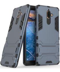 Nokia 7 Plus Hybride Kickstand Cover Donker Blauw