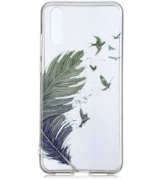 Huawei P20 TPU Backcover met Feathers Print
