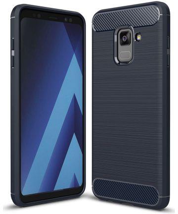 Samsung Galaxy A8 (2018) Geborsteld TPU Hoesje Blauw Hoesjes
