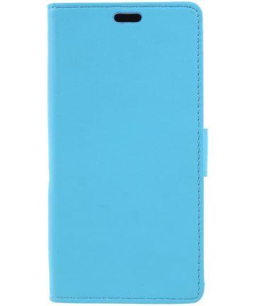 Wiko Lenny 5 Lederen Wallet Stand Hoesje Blauw