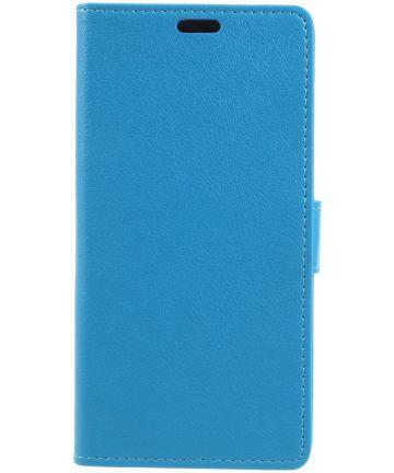 Wiko View 2 Lederen Wallet Stand Hoesje Blauw
