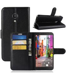 Alcatel 1C Lederen Wallet Stand Hoesje Zwart