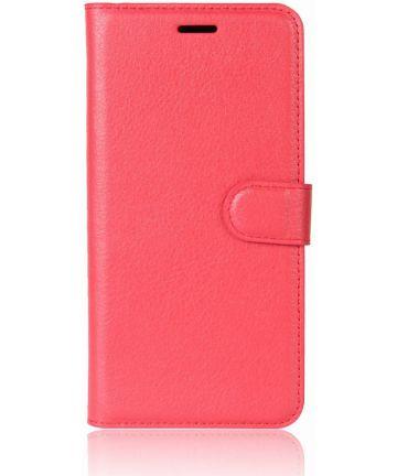 Alcatel 1C Lederen Wallet Stand Hoesje Rood