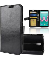 Wiko Lenny 5 Lederen Wallet Hoesje Zwart