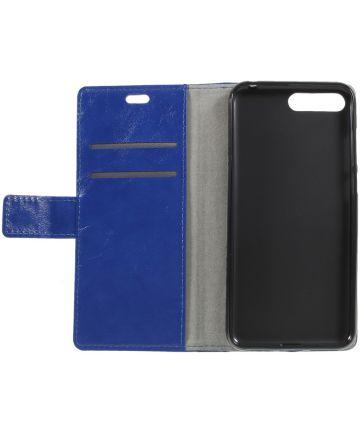 Huawei Y6 (2018) Lederen Wallet Stand Hoesje Blauw Hoesjes