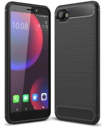HTC Desire 12 Geborsteld TPU Hoesje Zwart