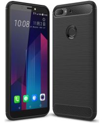 HTC Desire 12 Plus Geborsteld TPU Hoesje Zwart