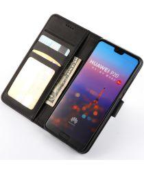 Huawei P20 Pro Lederen Portemonnee Stand Bookcase Hoesje Zwart