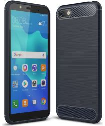 Huawei Y5 (2018) Geborsteld TPU Hoesje Blauw