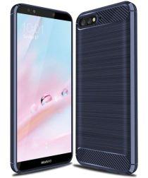 Huawei Y6 (2018) Geborsteld TPU Hoesje Blauw